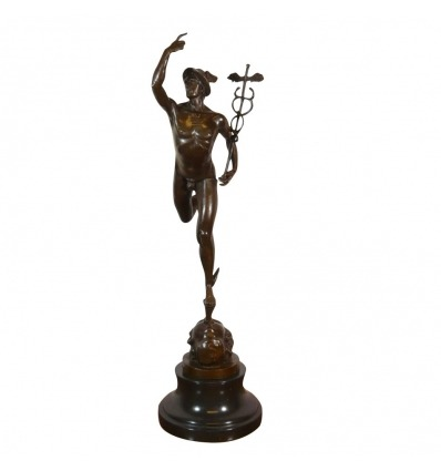 Bronsstaty av kvicksilver / Hermes flying - mytologi skulptur -