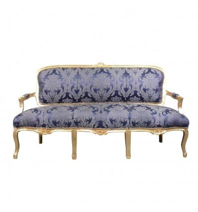 Canapé Louis XV bleu roi -