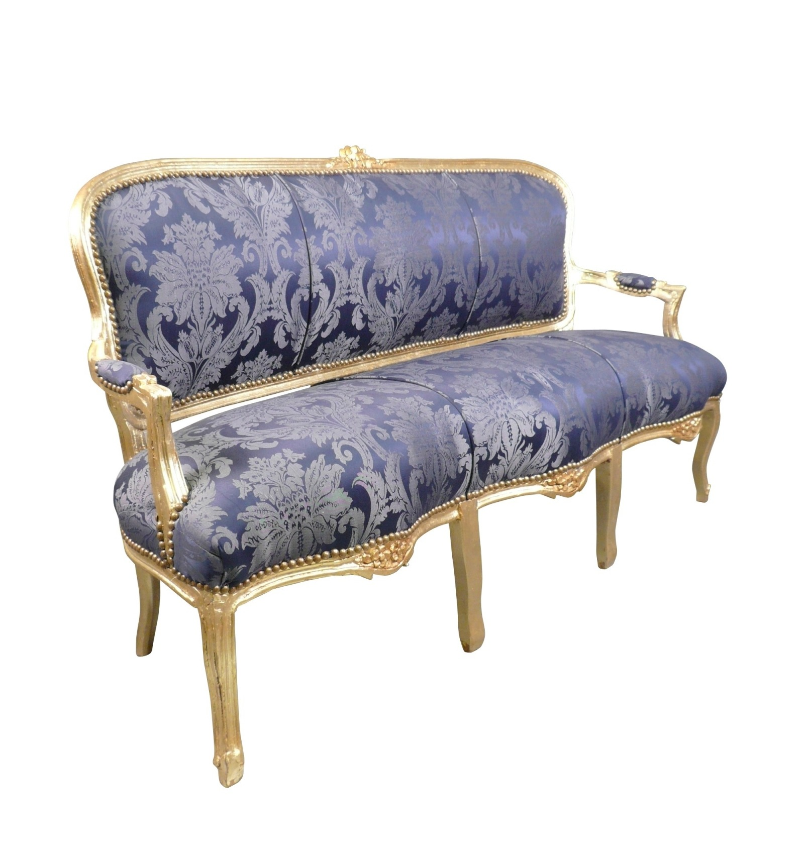 Canap louis xv bleu roi for Canape louis 15