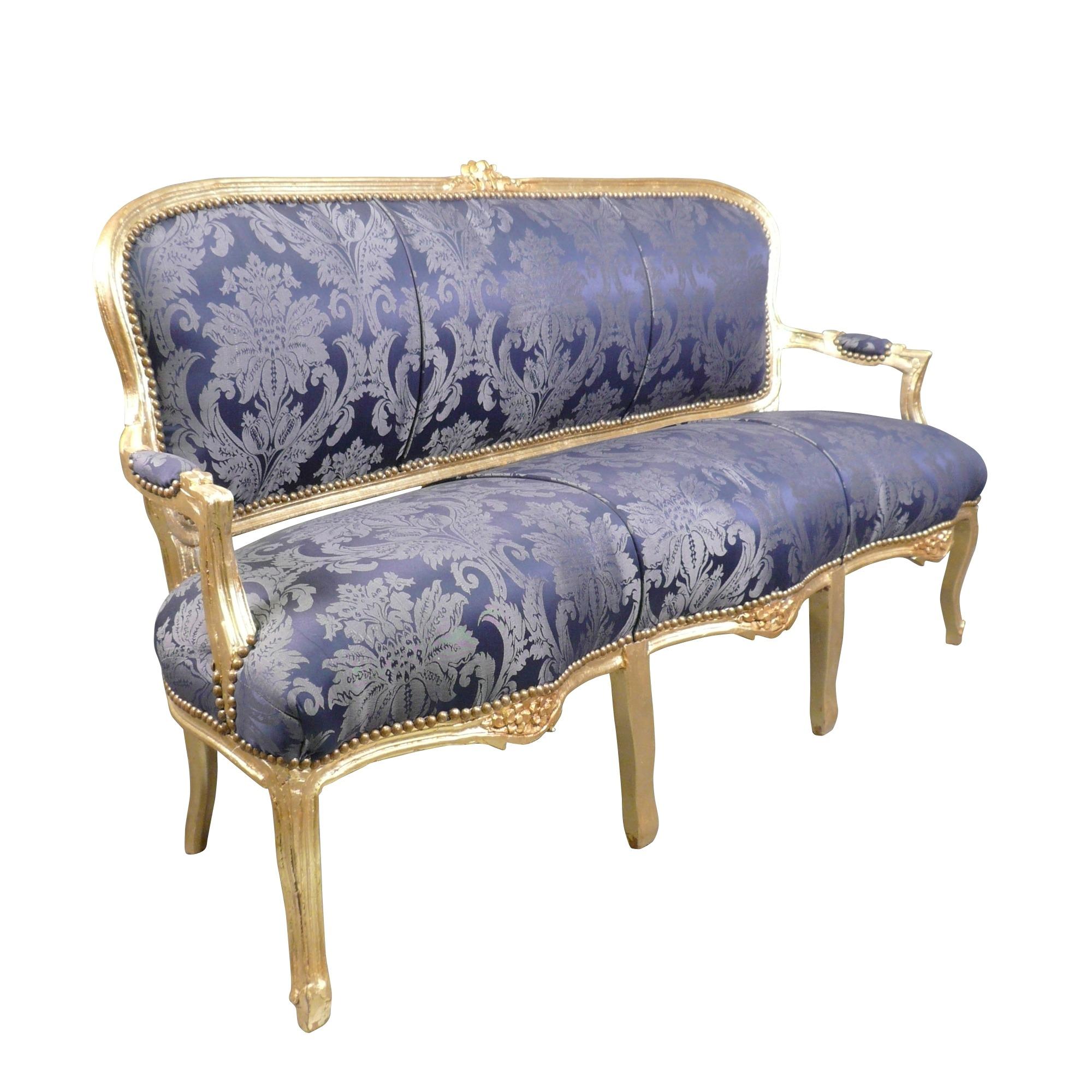 htdeco canap louis xv bleu roi ebay. Black Bedroom Furniture Sets. Home Design Ideas