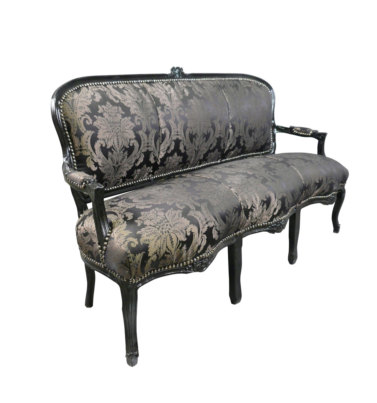 canap louis xv noir fleurs. Black Bedroom Furniture Sets. Home Design Ideas