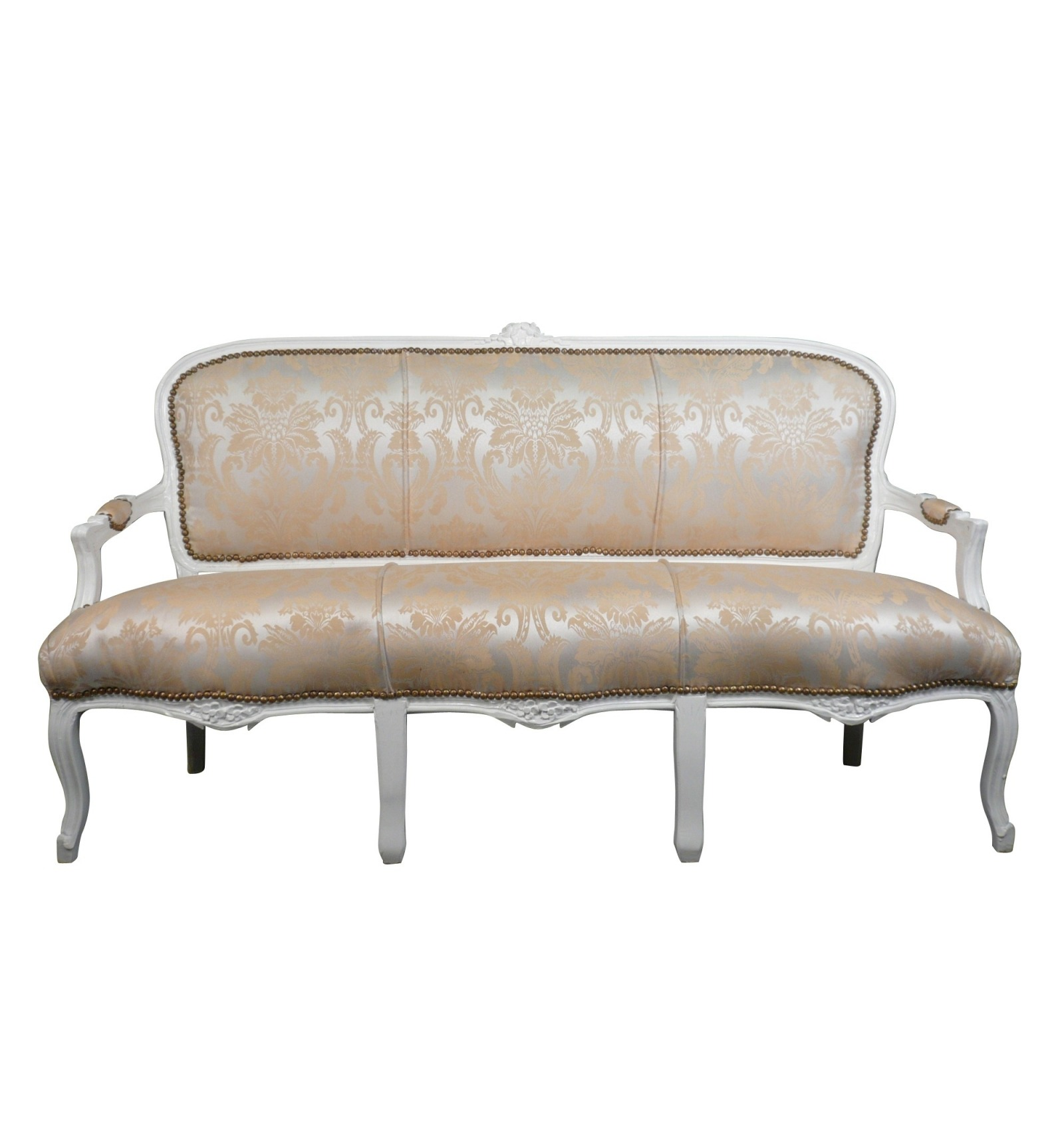 Sofa louis xv white wood and satin fabric for Canape style louis xv