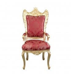 Fauteuil baroque rouge style Trône