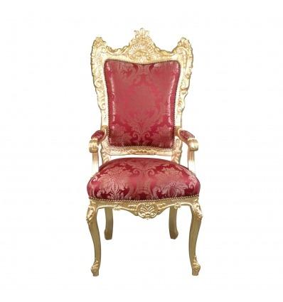 Sillón barroco estilo trono rojo.