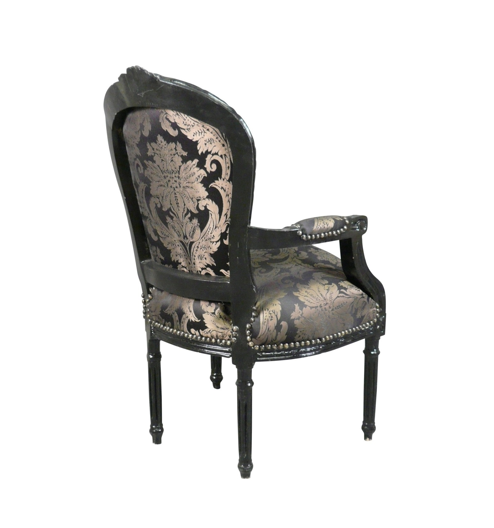 fauteuil louis xvi avec un tissu noir baroque. Black Bedroom Furniture Sets. Home Design Ideas
