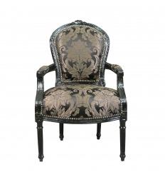 Křeslo Louis XVI s černou tkaninou barokní