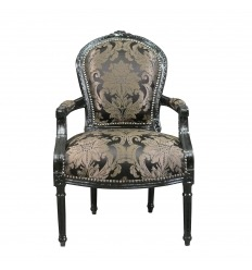 Louis XVI armchair with a black baroque fabric