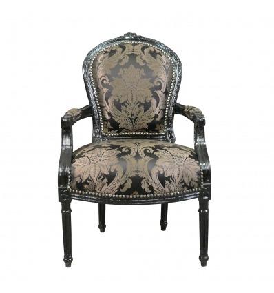 Louis XVI Sessel mit schwarzem Barockstoff - Barocker Louis XVI Sessel