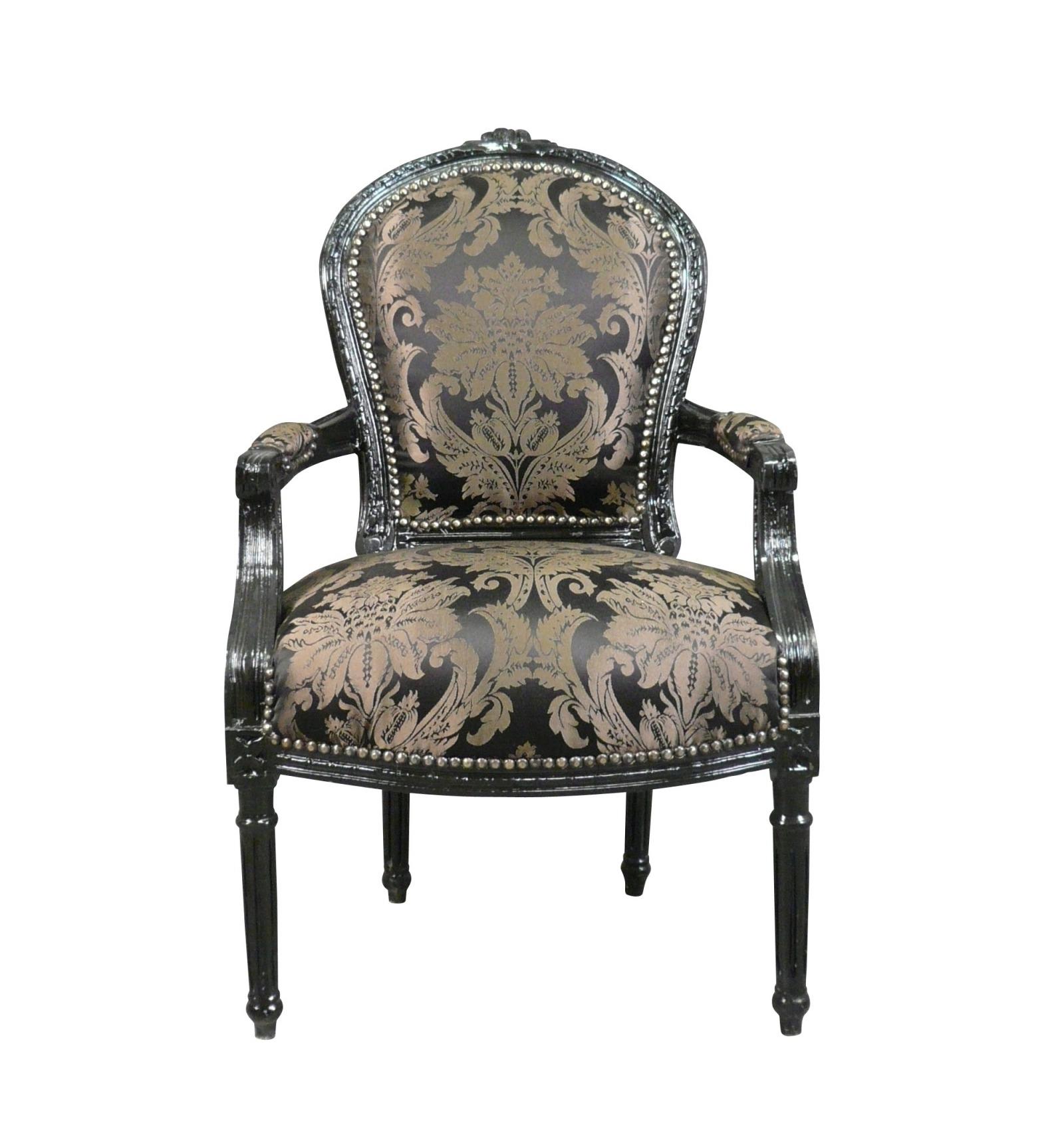 Louis XVI Sessel Mit Schwarzem Barockstoff