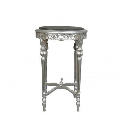 Barock versilberter Marmor aus schwarzem Marmor - Rococo-Tisch -
