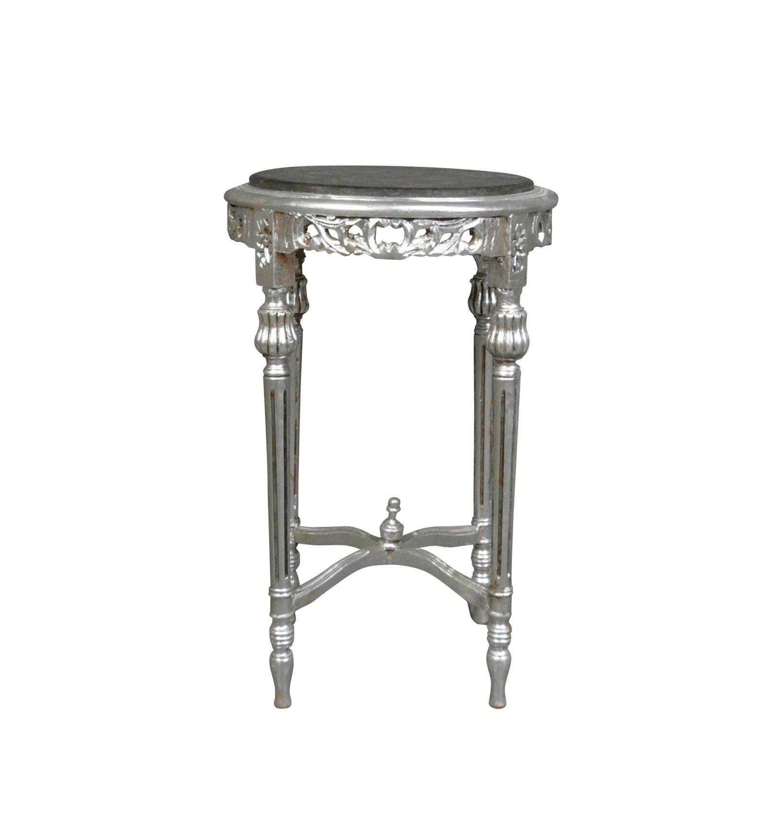 Sellette Baroque Argentée Marbre Noir Table Rococo
