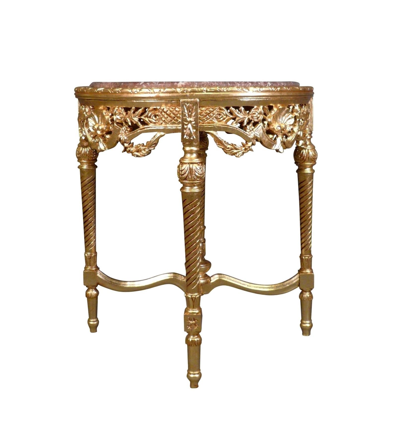esstisch barock aus vergoldetem holz und marmor top. Black Bedroom Furniture Sets. Home Design Ideas