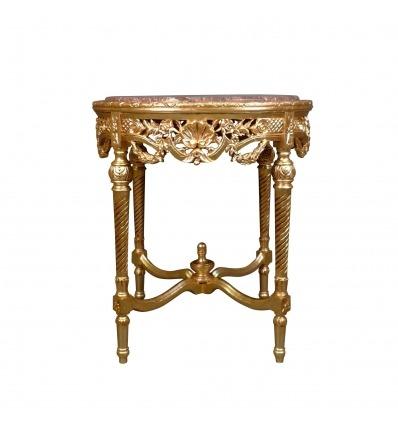Piedistallo tavolo barocco in legno dorato e top in marmo