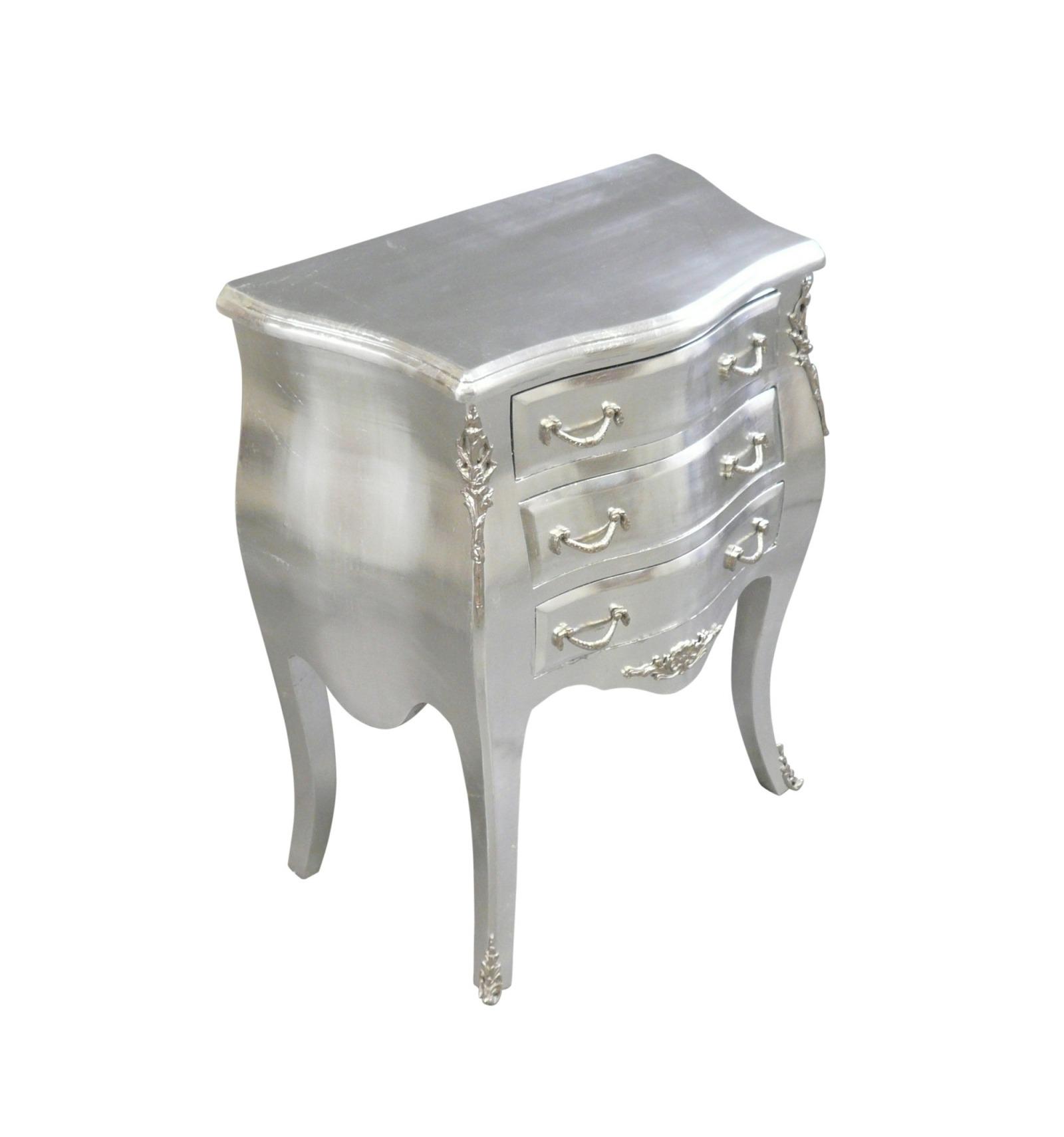 commode baroque deux tiroirs argent es. Black Bedroom Furniture Sets. Home Design Ideas