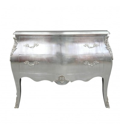 Commode baroque argentée style Louis XV - Mobilier baroque