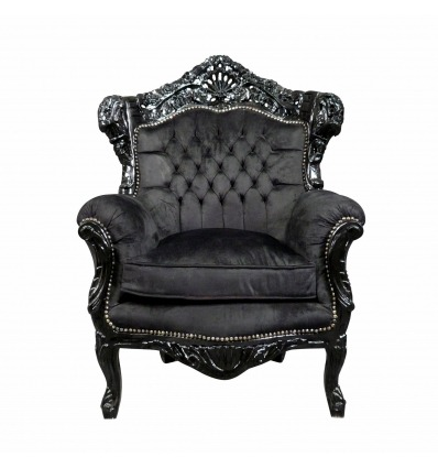 Baroque armchair in velvet and black wood