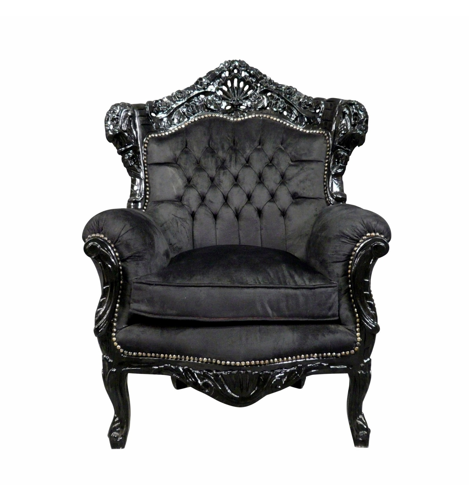 fauteuil baroque en velours et bois noir. Black Bedroom Furniture Sets. Home Design Ideas