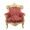 Baroque armchair in gilded wood and rococo red fabric