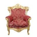 Poltrona barocco in legno dorato e rosso tessuto rococò
