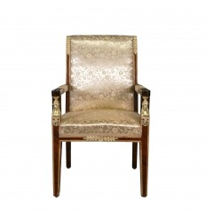 Empire armchair in mahogany magnifying glass