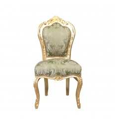 Chaise baroque verte en bois doré