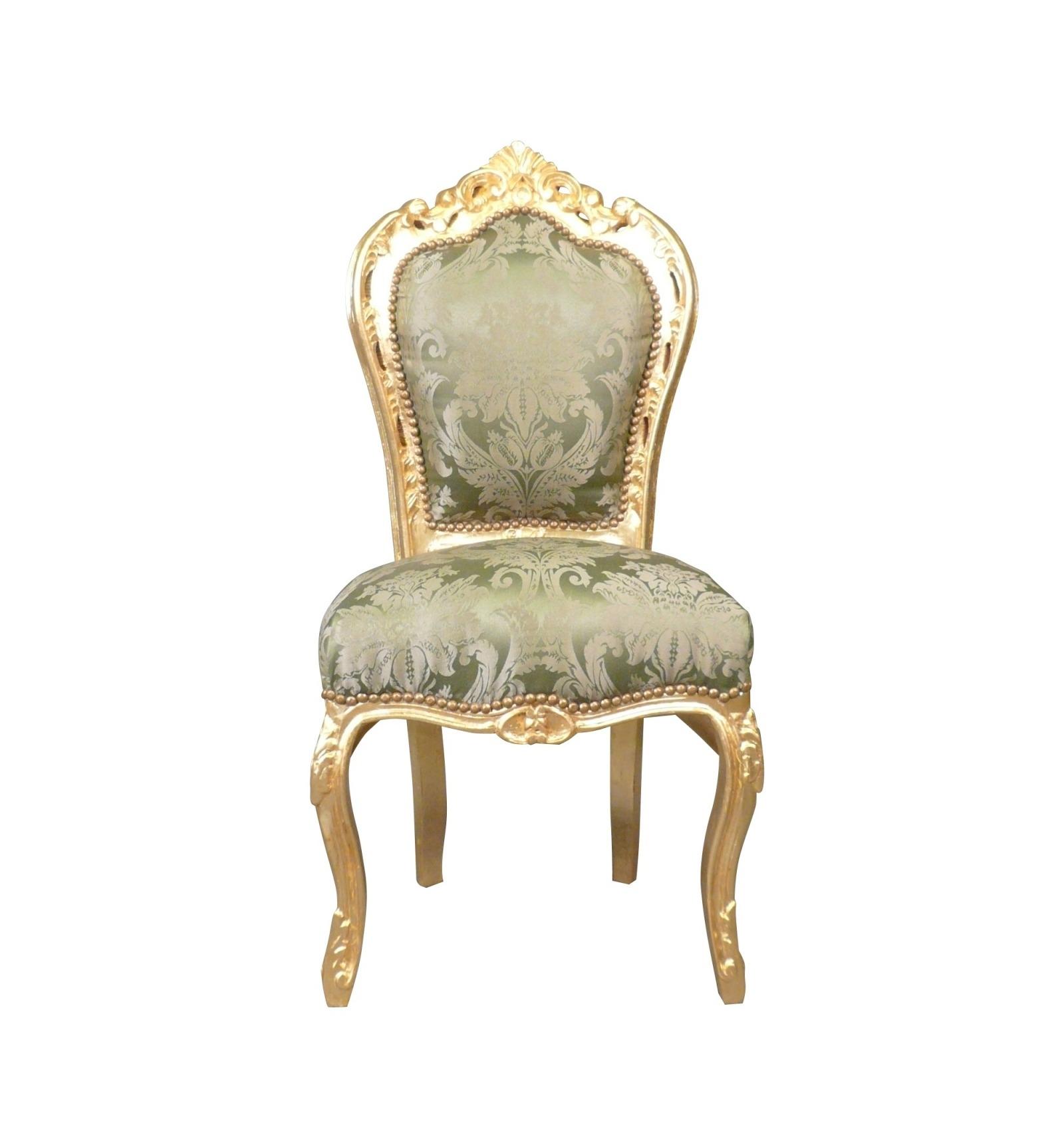 Chaise baroque verte assises rococo en bois dor for Chaise verte