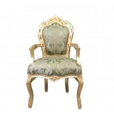 Satynowy, zielony barokowy fotel