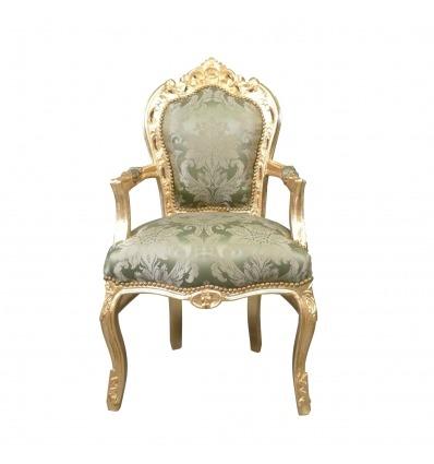 Barocker Sessel in grünem Satin