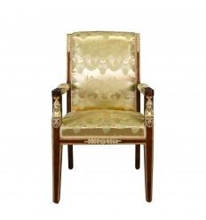 Empire armchair satin golden fabric