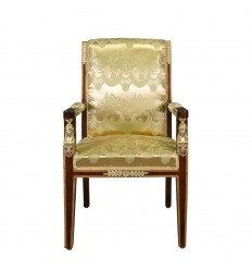 Armchair Empire satin fabric golden