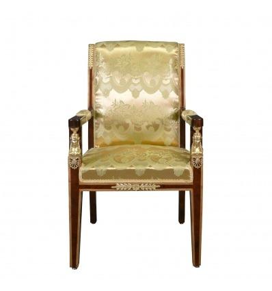 Empire armchair satin golden fabric - Napoleon III furniture -