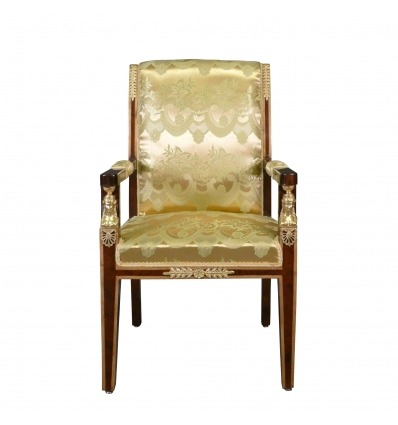 Sillón imperio satinado tela dorada - muebles Napoleon III -