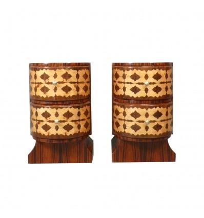 Coppia di comodini art decò in legno di palissandro, mobili art deco