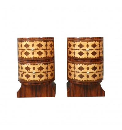 Pair of art deco bedside tables in rosewood, art deco furniture