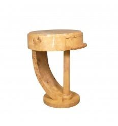 Арт-деко прикроватный столик в вязовом увеличительном стекле