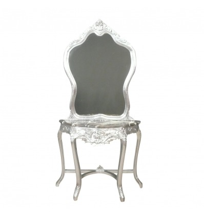Silver baroque console with its mirror -