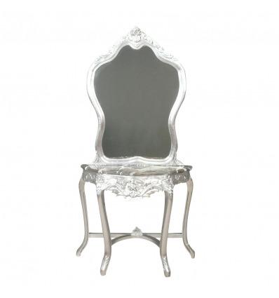 Console barocco specchio d'argento -