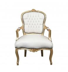 Fauteuil Louis XV blanc et doré