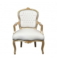 Sillón Louis XV blanco y dorado.