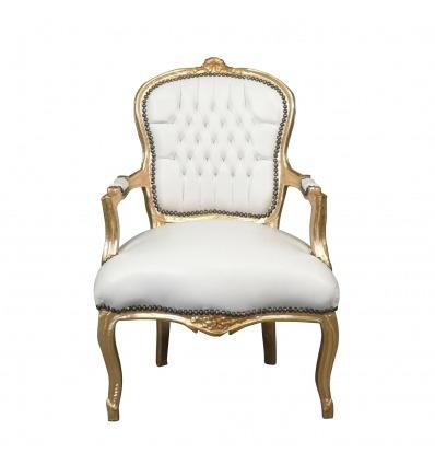 Sillón Luis XV blanco y dorado - Gabinete estilo Luis XV -