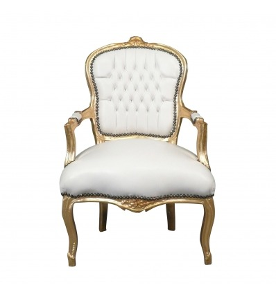 Stol Louis XV vit och guld - möbler stil Louis XV -