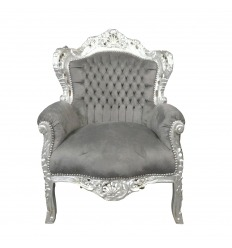 Baroque gray mouse armchair