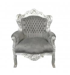 Fauteuil baroque gris souris