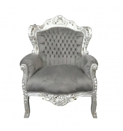 Baroque gray mouse armchair - Royal baroque armchair
