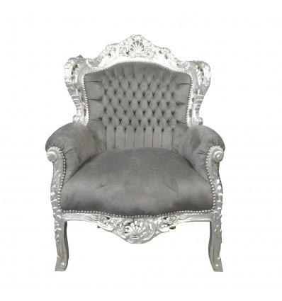 Fauteuil baroque gris souris - Fauteuil baroque royal - Fauteuil baroque