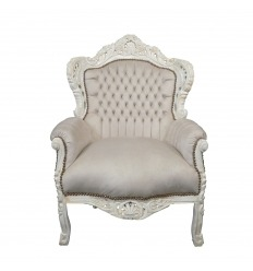 Baroque armchair beige and white