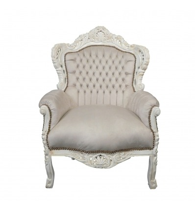 Baroque armchair beige and white - Royal baroque armchair -