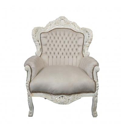 Fauteuil baroque beige et blanc