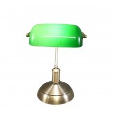 Bankovní lampa Tiffany s opalizujícím zeleným sklem