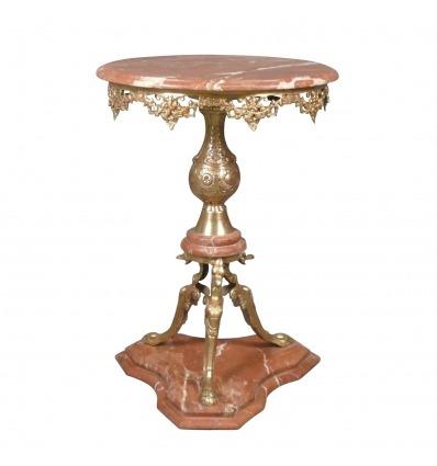 Gueridon-style-retour-d-Egypte-en-bronze-et-marbre-rouge-Alicante